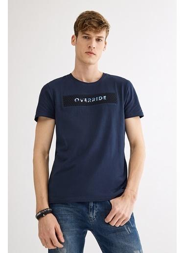 Avva Erkek  V Yaka Gofret Baskılı Tişört A01Y1024 Lacivert
